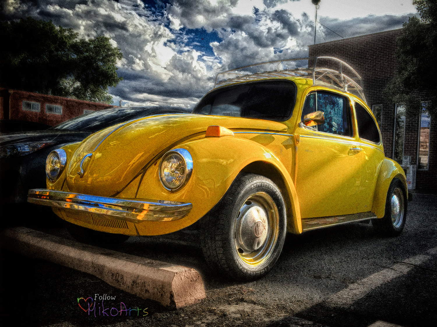 Photo Auto VW BUG Title is Yellow VW Gumdrop by Miko Zen MikoArts Copyright 2019 W