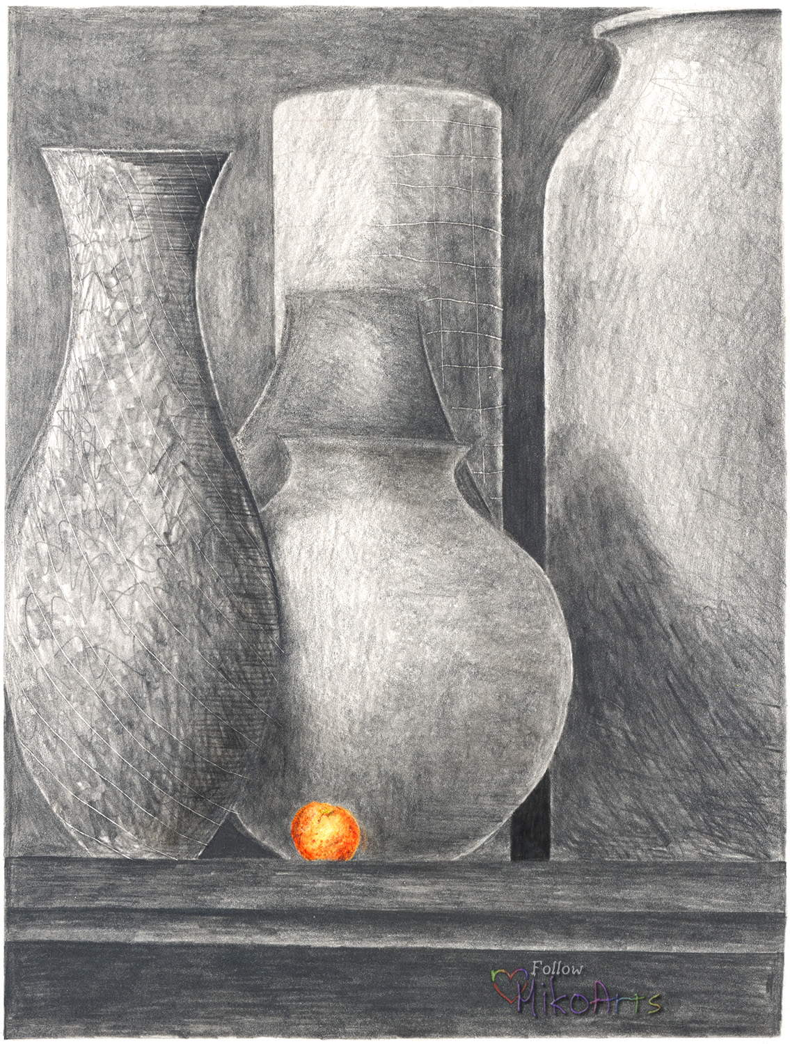 Still Life Drawing Title is Still Life with Orange by Miko Zen MikoArts Copyright 2019 W